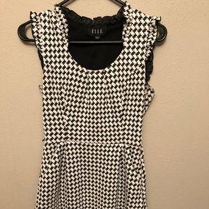 Elle Black and White Houndstooth Ruffled dress sz4